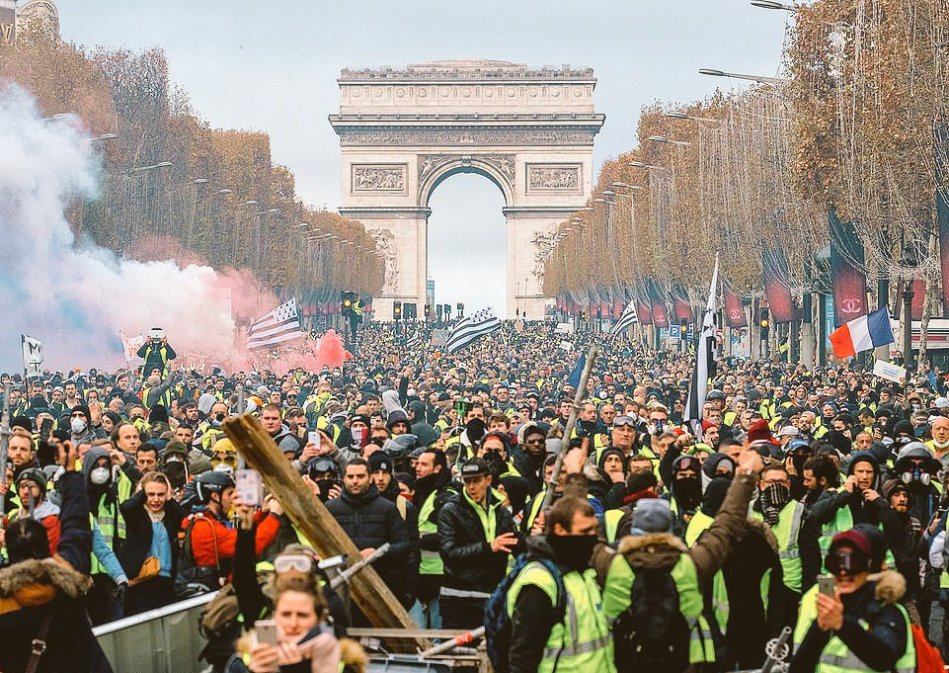 Image result for paris protest against macron...
